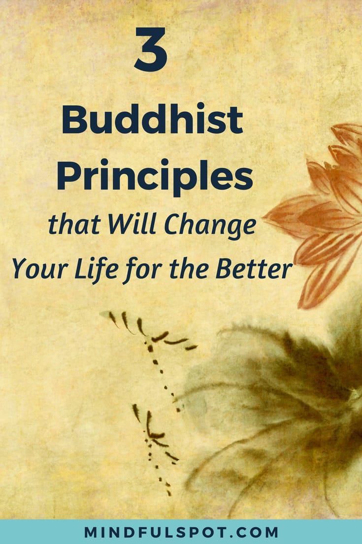 image of a lotus flower with text overlay: 3 Buddhist Principles that Will Change Your Life for the Better