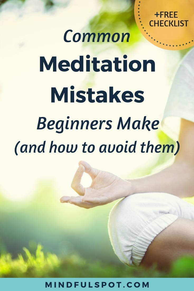 A hand in gyan mudra position with text overlay: Common Meditation Mistakes and How to Avoid Them