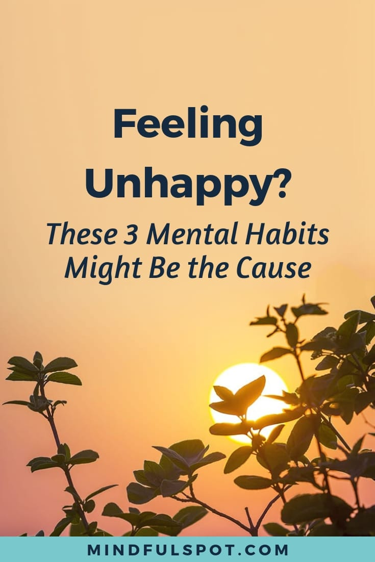 """Tree branches with dark green leaves in the sunset. 3 Mental Habits that Make You Ask """"Why Am I So Unhappy?"""""""